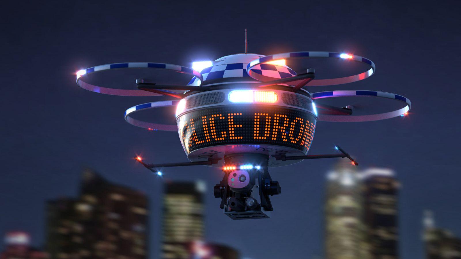 Futuristic Art Police Drone