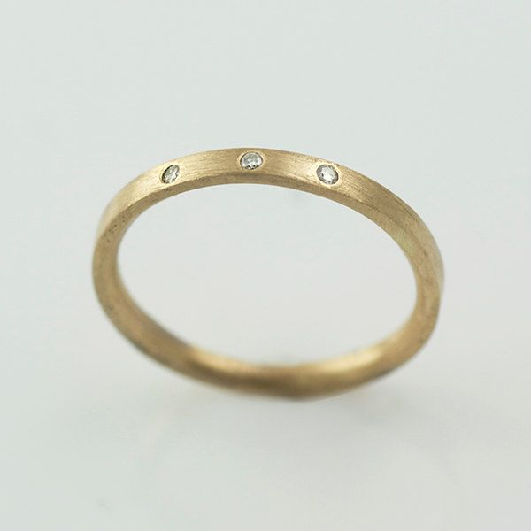 Seasonal Recycled Hand Forged 14k Yellow Gold Ring 1.5mm Band Recycled diamonds Eco Friendly Metal  // Modern Bride // Ethical //