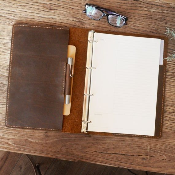 Leather Binder 4-Ring, Fit 4 Hole A4 Refill Paper, Leather