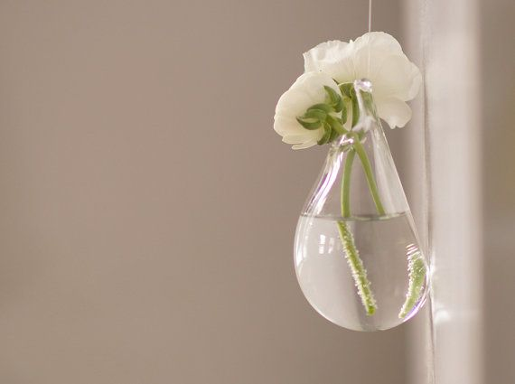 Blown Glass Wall Vase In Transparent Clear Glass These Hand Blown