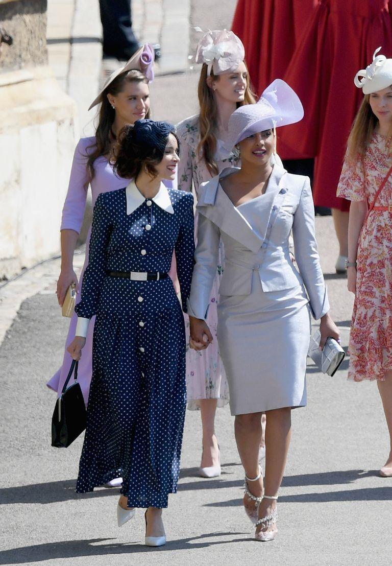 Priyanka Chopra Dressed Like A Princess In Dior For Meghan Markle And Prince Harry S Reception Royal Wedding Guests Outfits Nice Dresses Priyanka Chopra Dress [ 1108 x 768 Pixel ]