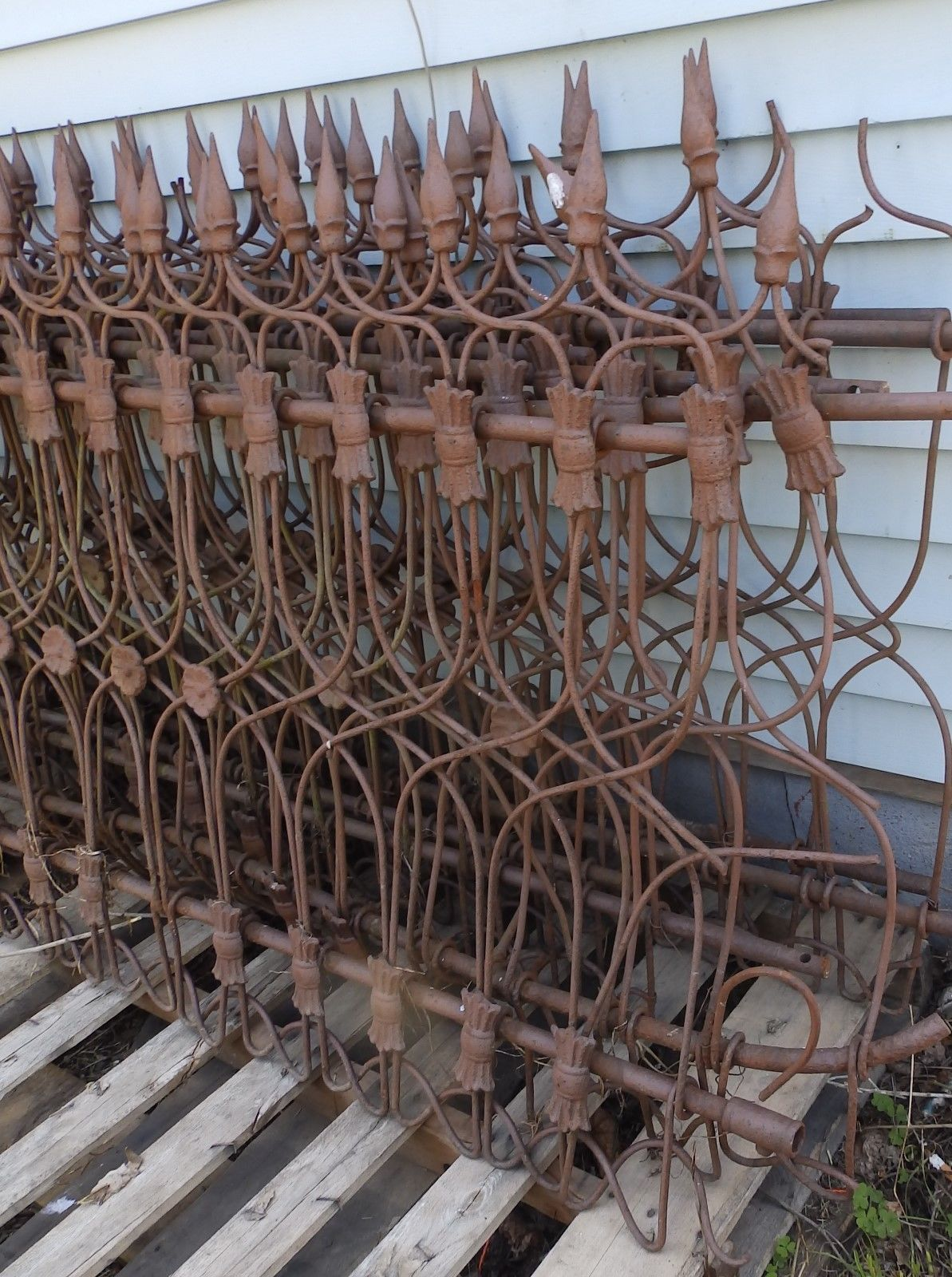 60 Ft Antique Wrought Iron Fence Vtg Architectural Garden 8