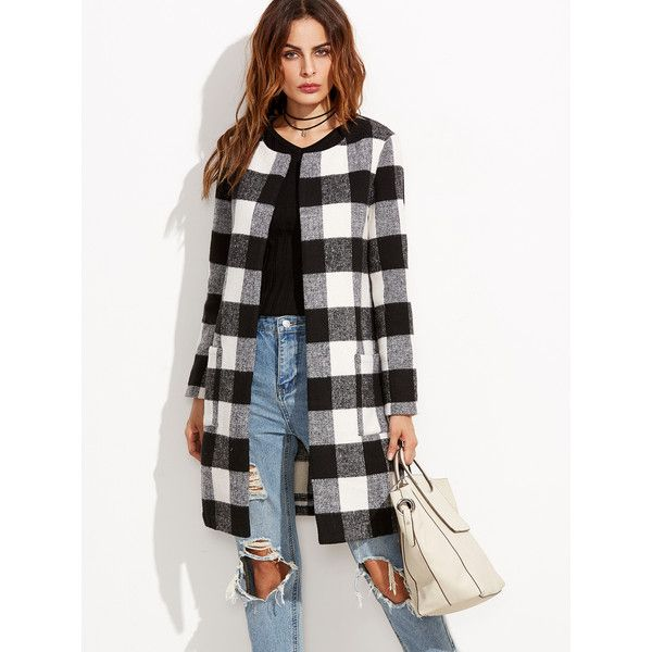 Black And White Checkered Collarless Coat | Collarless coat
