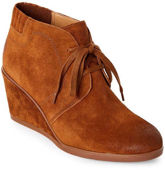 5874b5abd3f8 Franco Sarto Cognac Austine Burnished Wedge Booties Brown Wedge Boots