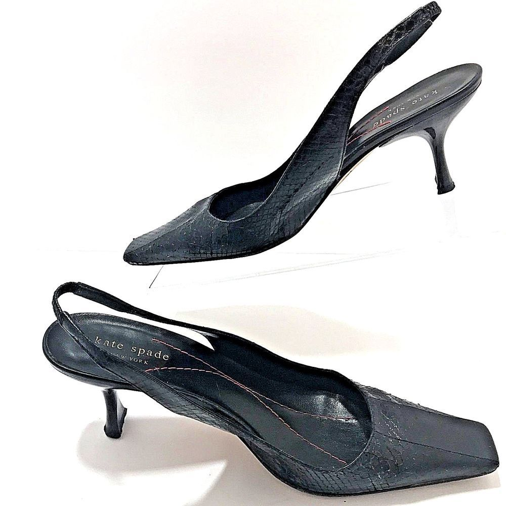 Kate Spade Black Whip Snake Kitten Heel Slingback Shoe Size 8 B Women S Eu 38 5 Katespadenewyork Slingbacks Heels Kitten Heel Slingback Shoes Slingback