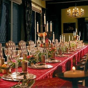 The red table cloth and candelabra certainly adds a level of prestige to this banquet. & Regal Red | Medieval Theme | Pinterest | Medieval Renaissance ...