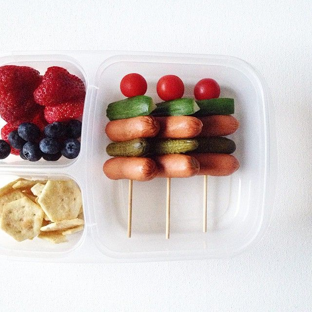 Mini hot dog + cornichon + cucumber + tomato = lunch. #bento #EasyLunchboxes