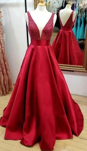 V-Ausschnitt Perlen Lange Ballkleider Maßgeschneiderte Schule Tanzkleid Mode Abschlussfeier Kleid YDP0541   – Prom dresses long