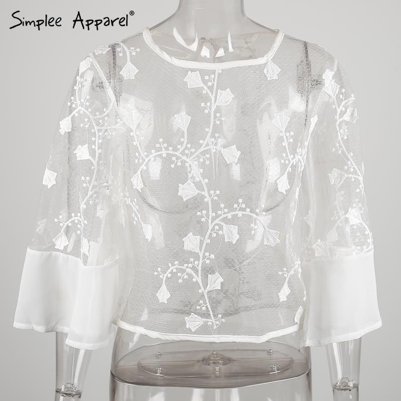 6c2b865f9d68ef Simplee Apparel Summer style sheer white lace blouse shirt Beach cover up sexy  blouse Women tops loose elegant renda blusas girl