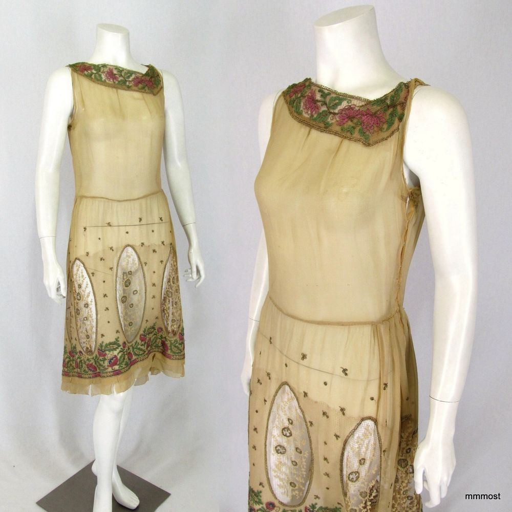 Vintage 1920s Day Dress Embroidered Metallic Cut Out Lace #Sheath #Daytime http://stores.ebay.com/mmmosts-Old-time-Stuff-and-Threads
