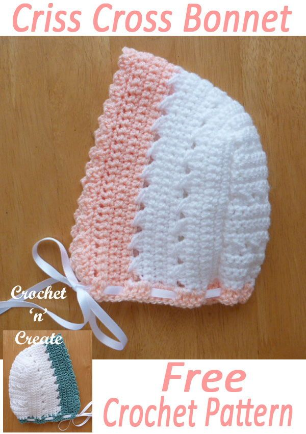 CrissCross Bonnet Free Baby Crochet Pattern   Mützen häkeln ...