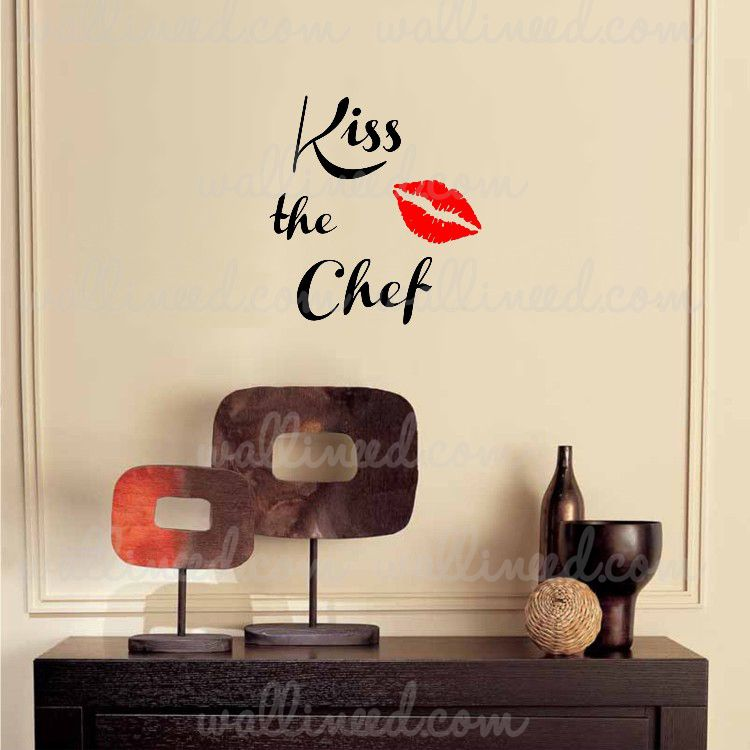 kiss the chef – kitchen wall decal wall sticker vinyl art | wall
