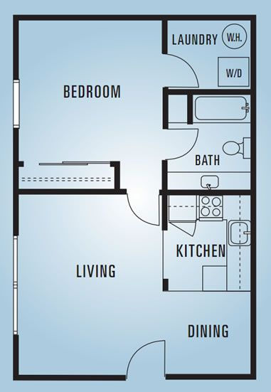 609 anderson one bedroom e 600 square feet dream for Small 1 bedroom apartment floor plans
