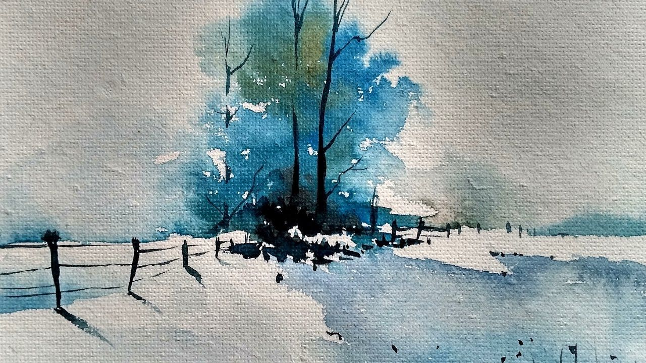 Snowy Winter Landscape With Watercolor Paint With David Aka