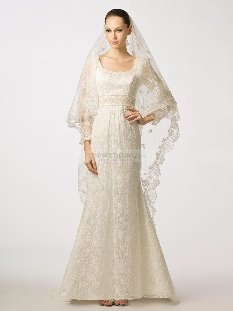 Long wedding reception dresses for the bride  Long Sleeved Scoop Neckline Lace Mermaid Wedding Dress with Beaded