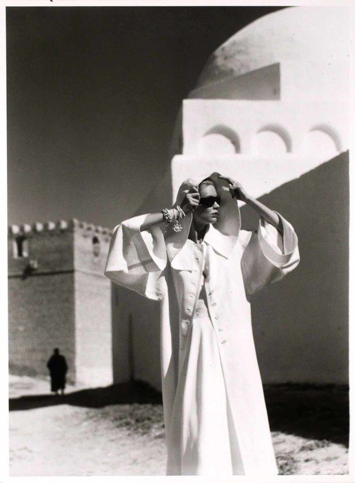 "Happy birthday to Louise Dahl-Wolfe! Dahl-Wolfe photographed at ""Harper's Bazaar"" from 1936 to 1958—she was one of the leading fashion photogs of the 20th Century. Tunisia, 1950"