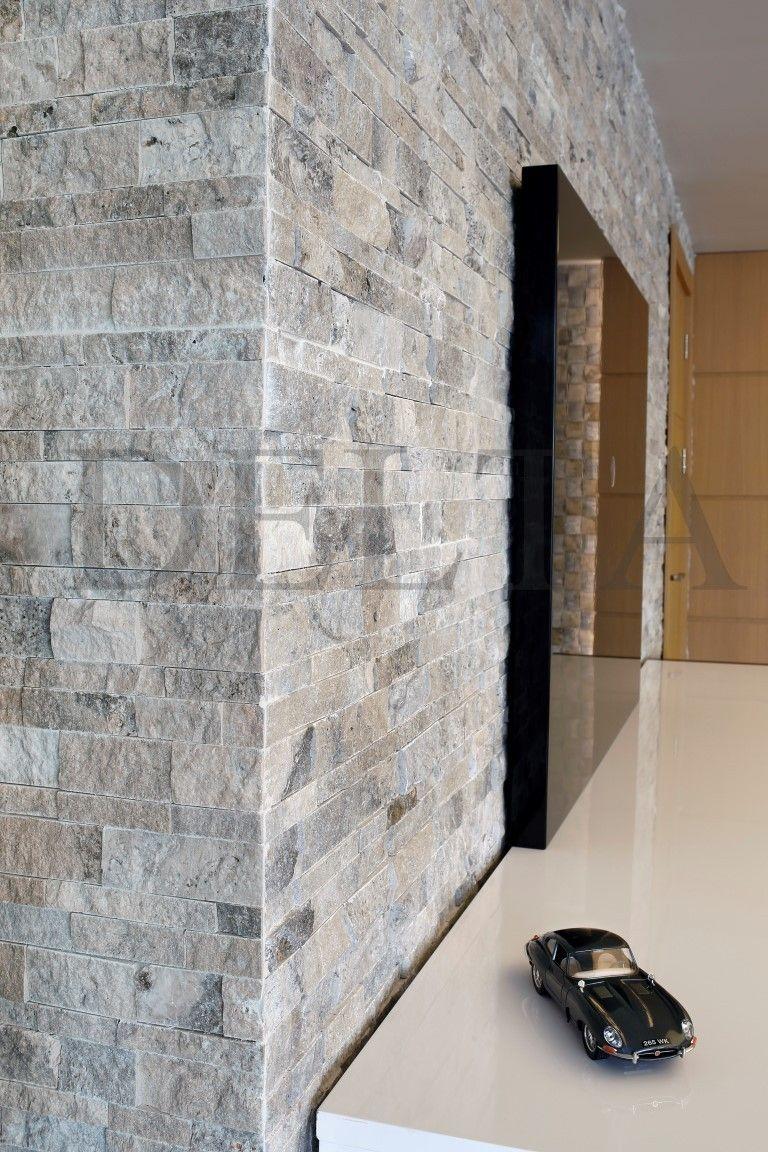 Wall Cladding  Kasgar Silver Travertine splitface mosaic