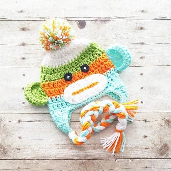 42d8a54389e Crochet Sock Monkey Beanie Hat Newborn Baby Infant Toddler Child Adult  Handmade Photography Photo Prop Baby Shower Gift Available from Newborn to  Adult and ...