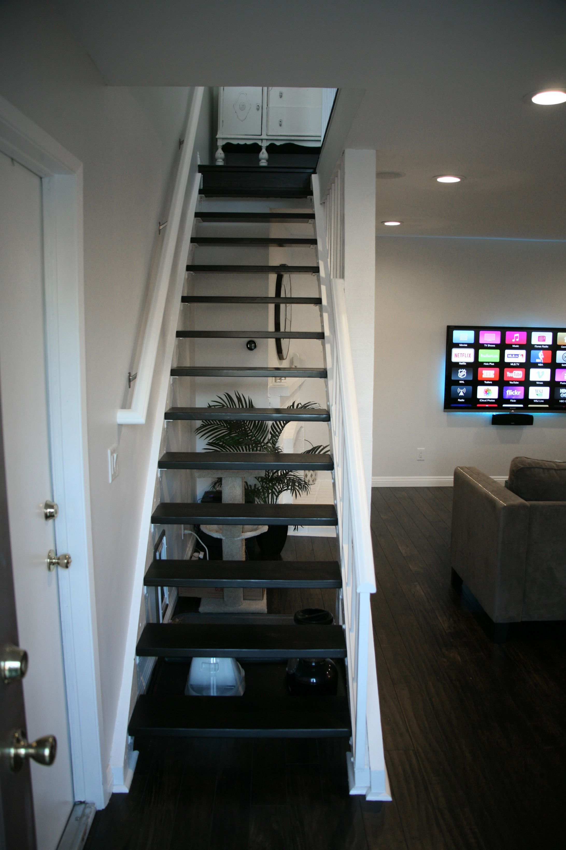 Minwax Charcoal Grey First Home Renovation Floating Stairs Wall Wood And Minwax