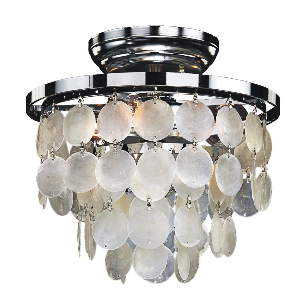 Glow lighting bayside light capiz shell and chrome frame