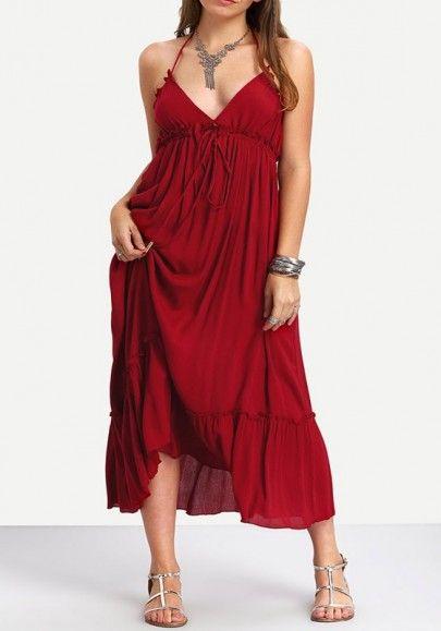 5e1867cfcf0 Red Drawstring Backless Tie Back Halter Neck Bohemian Beach Maxi Dress