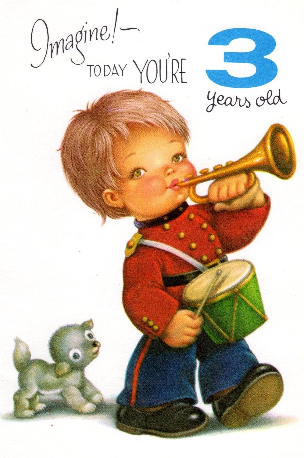 Vintage Birthday Card Chubby Cheek Boy For Three 3 Year Old Child 1960s On Etsy