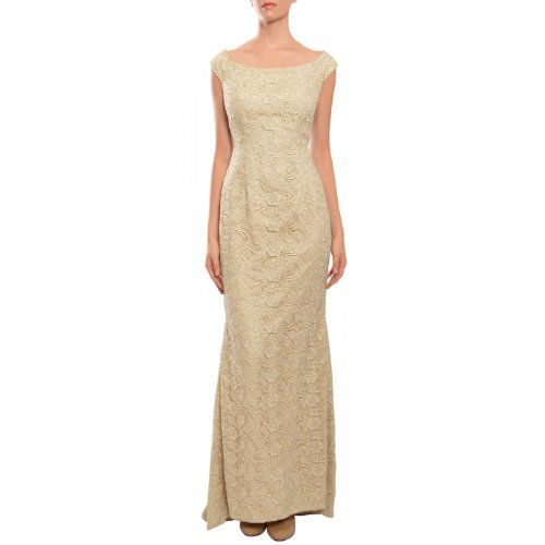 Carmen Marc Valvo Lace Trumpet Style Wedding Gown Dress, Ivory/Gold/Nude, Beautiful metallic lace gown features off the shoulder design, trumpet style skirt and short train. Back zipper.