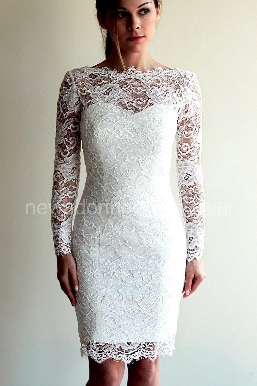 Illusion neckline long sleeve short lace wedding dress with v back