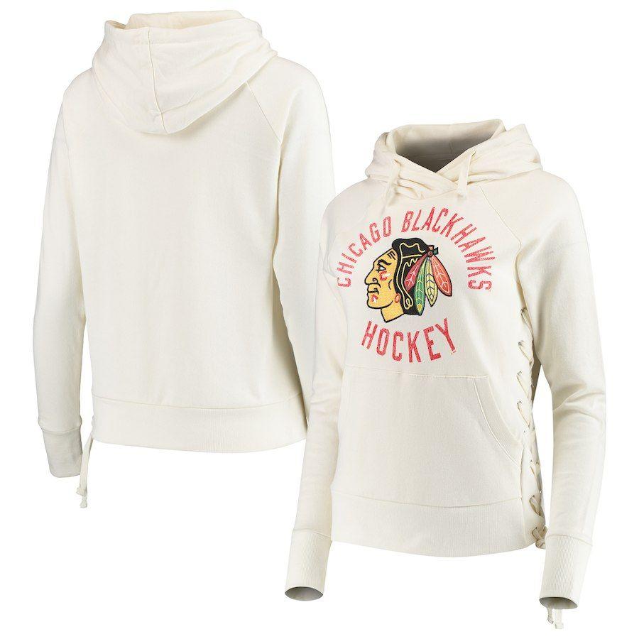 79ec1e61d60 Chicago Blackhawks Touch by Alyssa Milano Women s Weekend Raglan Pullover  Hoodie – Cream