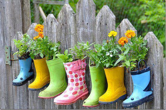 plantas en botas de agua
