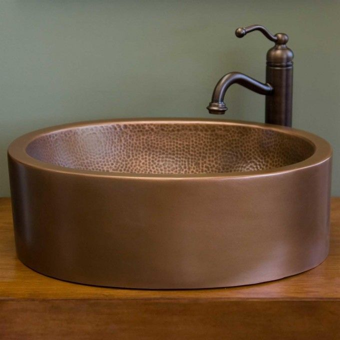 14 Casalina Double Wall Hammered Copper Vessel Sink Copper