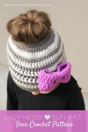 Kids Messy Bun Hat Crochet Pattern #messybunhat