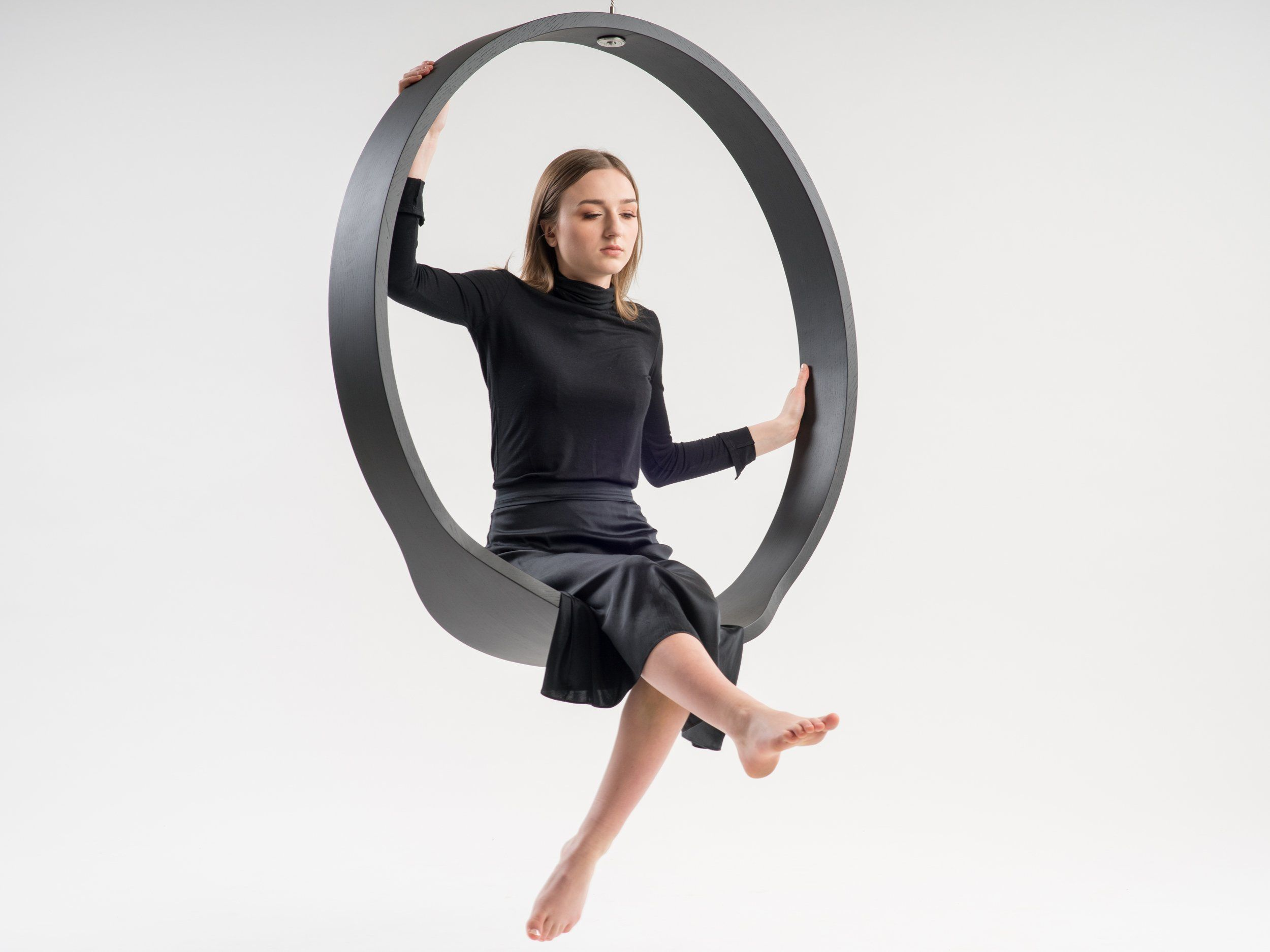 Wooden Circle Swing Model N 1 Acts As A Contemporary Rocking Chair Designboom Shop In 2020 Contemporary Rocking Chair Swinging Chair Rocking Chair