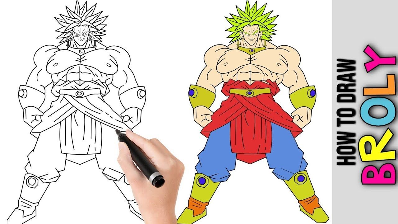 How To Draw Dragon Ball Z Super Broly Cute Easy Drawings Tutorial