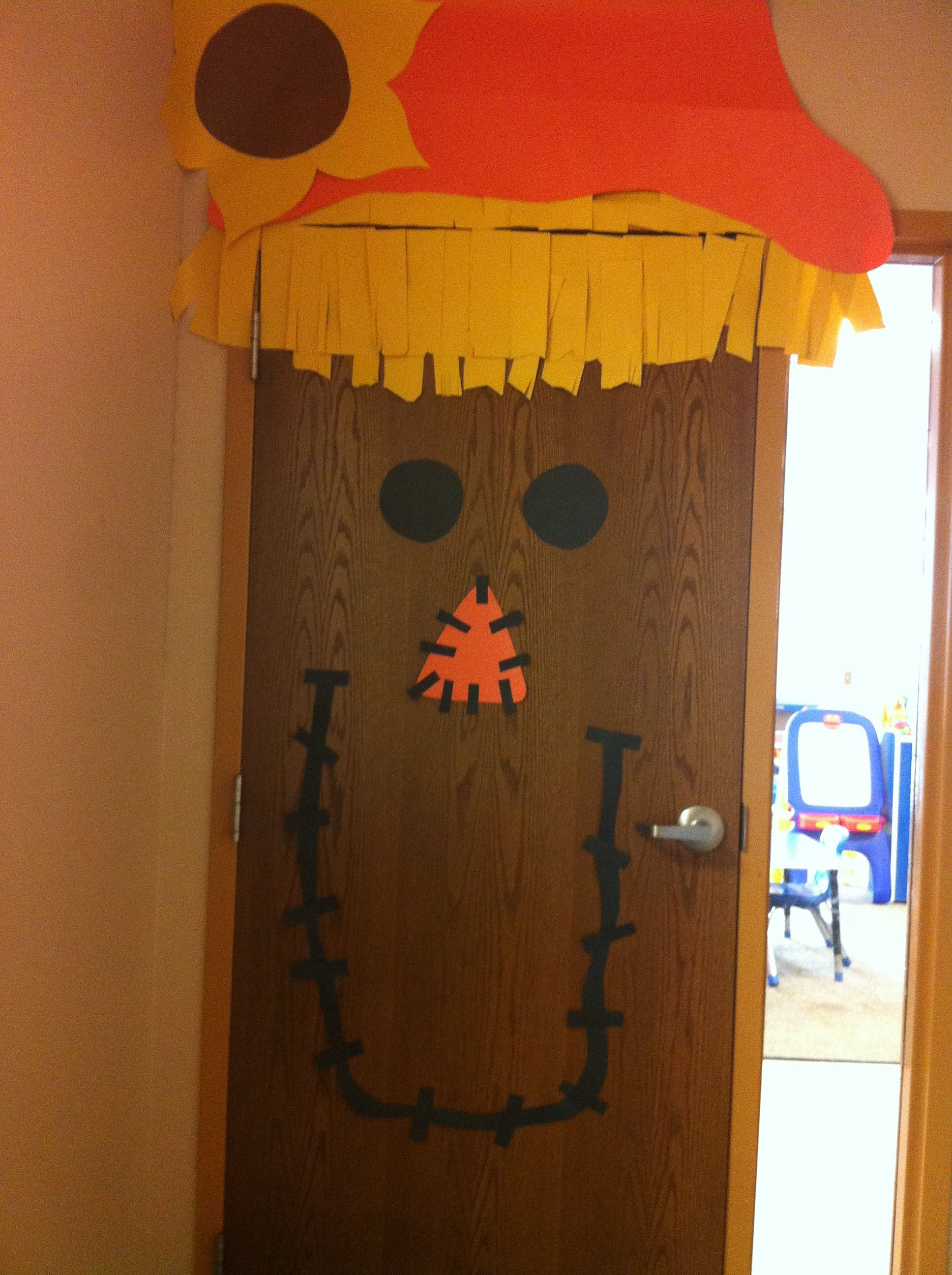 The door fall decor that I made for my class room! Fall Door for - Halloween Office Door Decorating Contest Ideas
