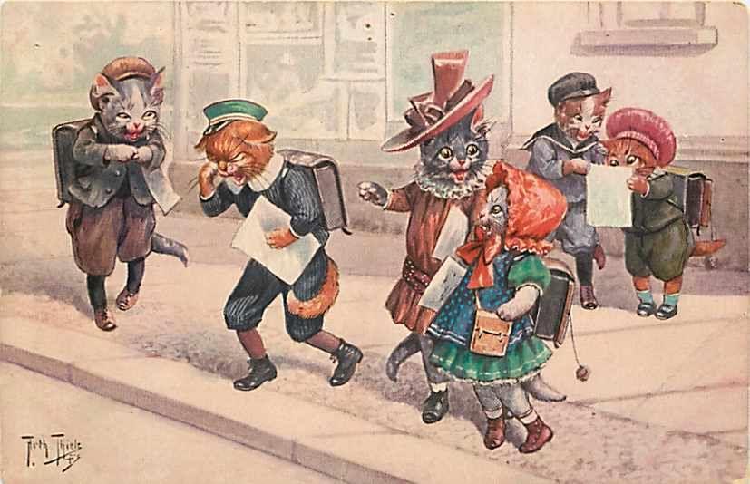 Arthur Thiele, Tsn não 1423, vestida de gatos em um andar lado in Colecionáveis, Cartões postais, Assinados pelo artista | eBay