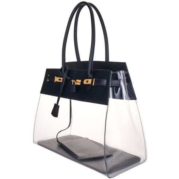 Black Designer Clear Bag 235 Liked On Polyvore Featuring Bags Handbags Purse And Crystal