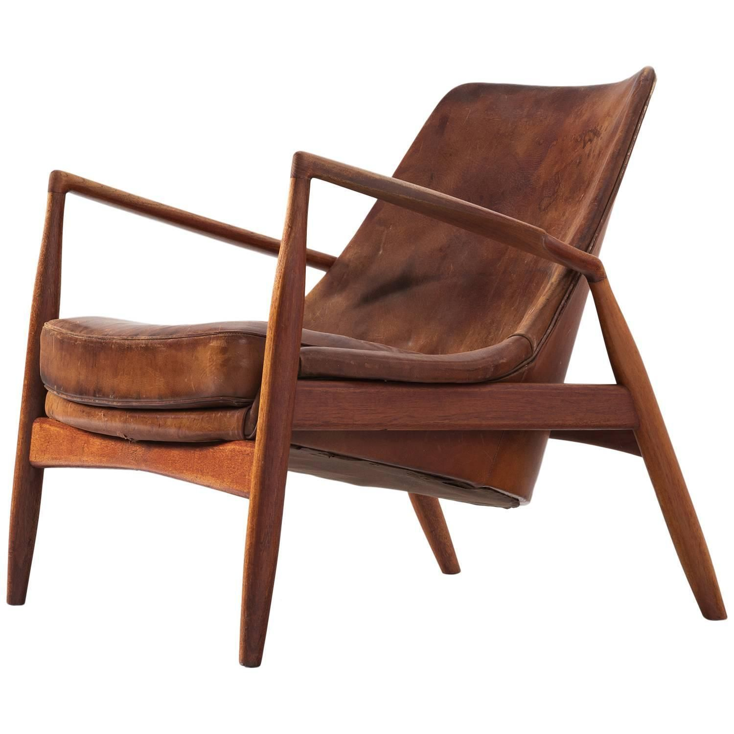 Ib Kofod Larsen U0027Sealu0027 Lounge Chair In Patinated Cognac Leather | From A