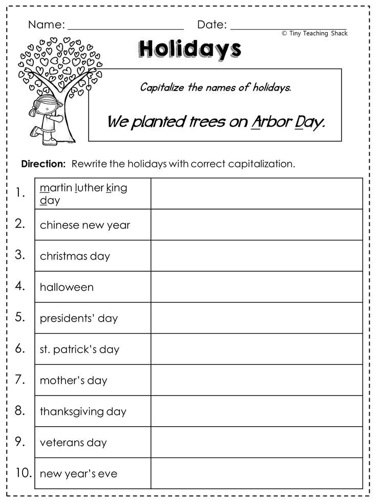 capitalization worksheet capitalizing holidays school  common cores