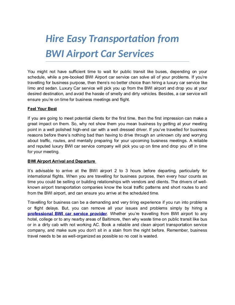Every BWI car service company is different and very rider is - car service invoice