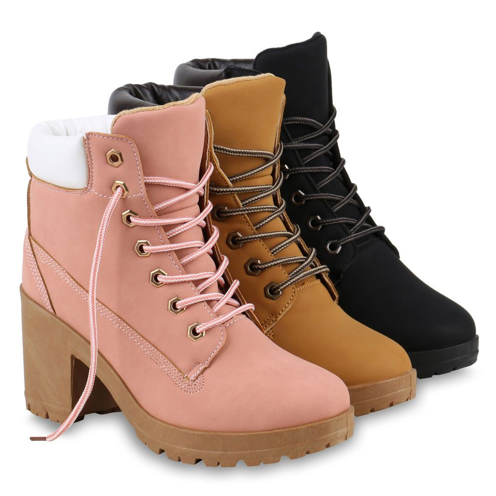 outlet store sale 4dc2f cf0f0 Damen Worker Boots Profil Sohle Block Absatz Stiefeletten ...