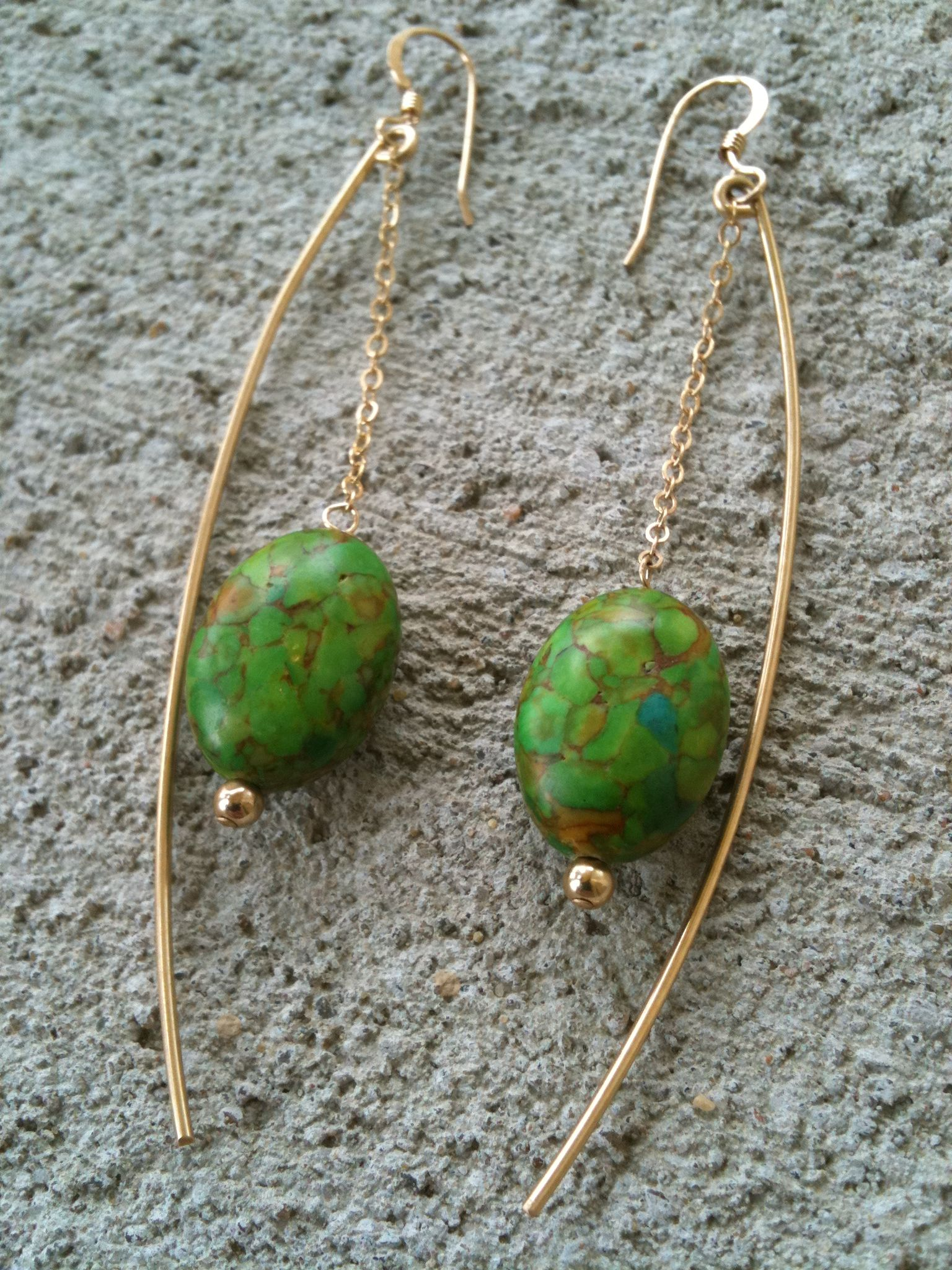 Gold Wire and Chain with Green Bead Accent by Erin Paige Designs (local to KC)