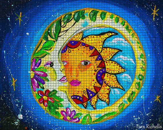 Sun and moon, art, tattoo, celestial, quotes, mosaic, wall ...