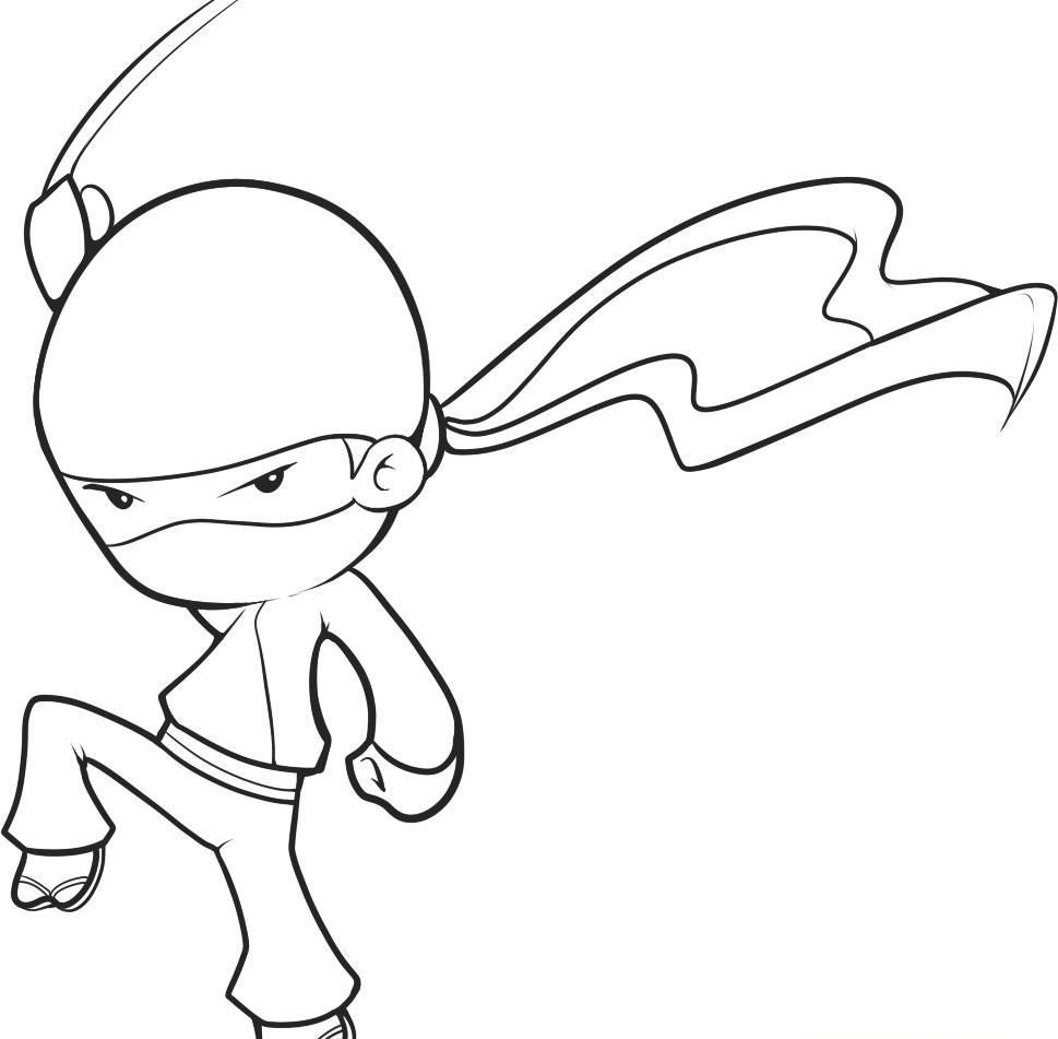 Ninja Kid Coloring Page Easy Drawings Drawing Pictures For Kids Cool Drawings