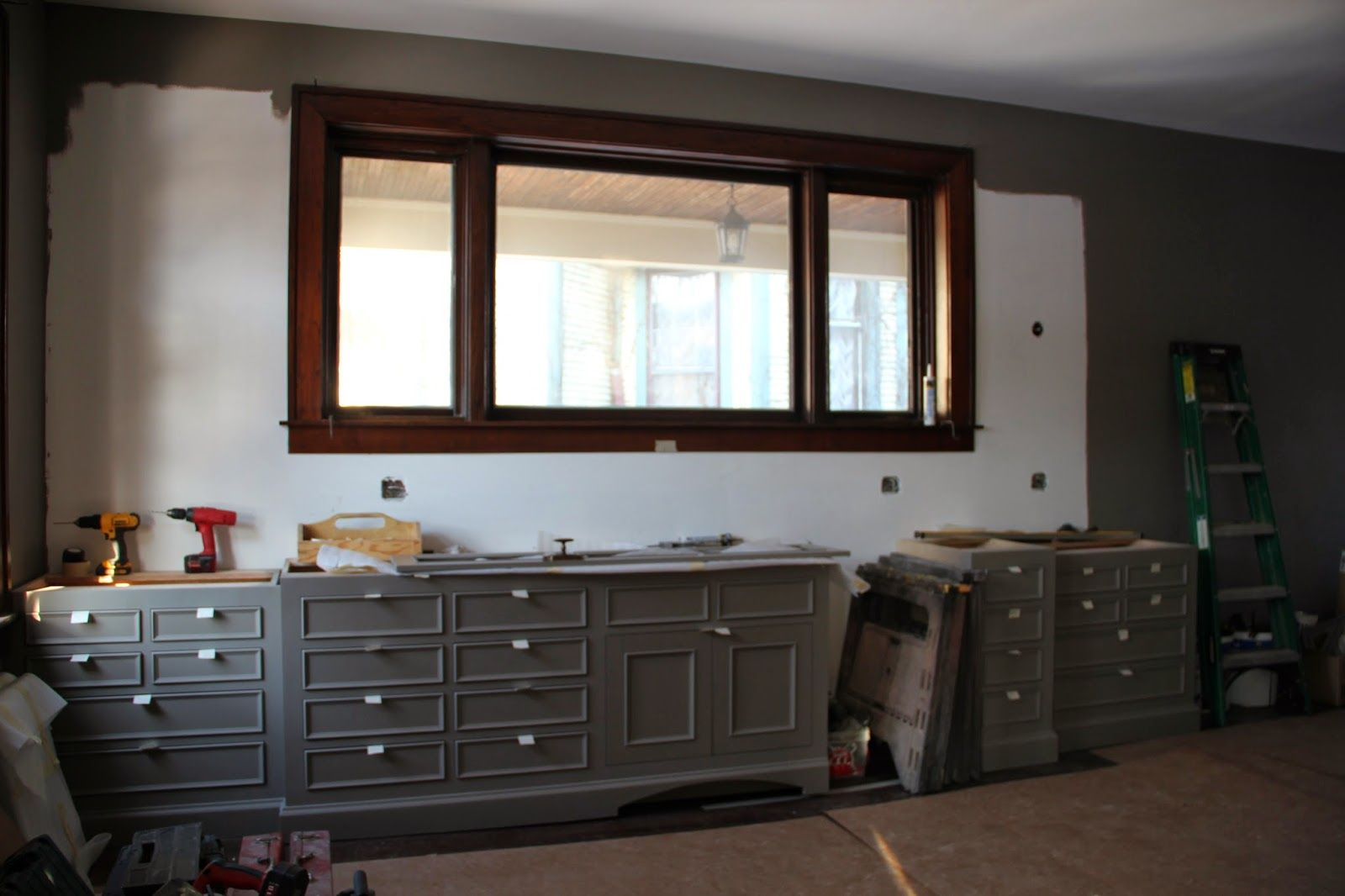 Grey Cabinets And Cremone Bolts On Uppers Grey Cabinets House Bathroom Vanity