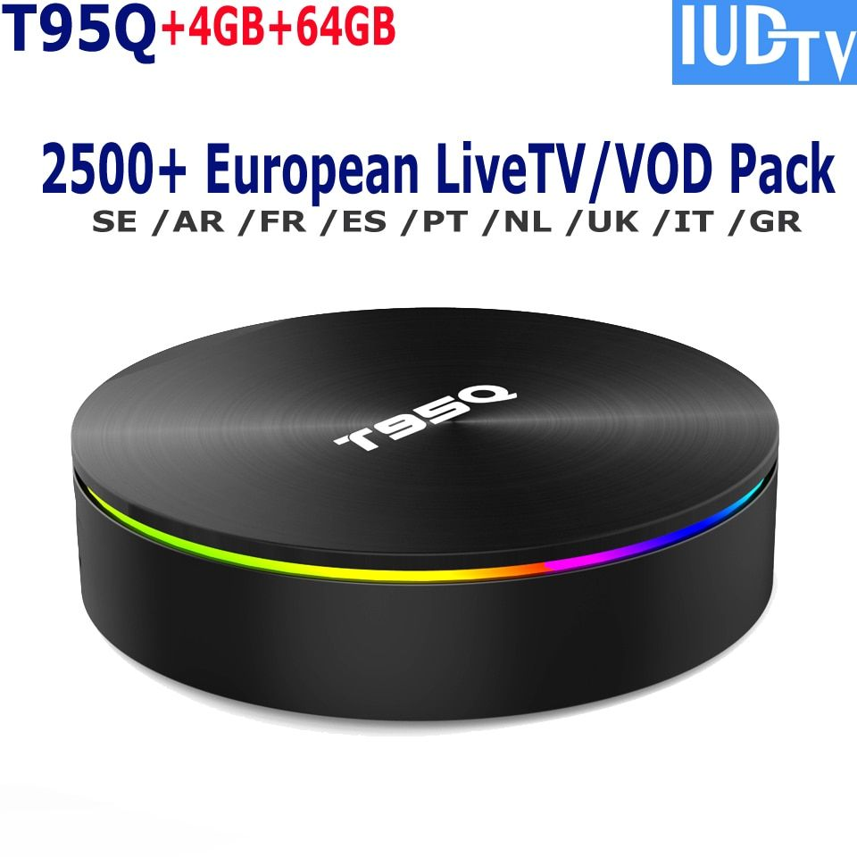 NEW!! T95Q 4K Android TV Box IUDTV Swedish iptv Channels French