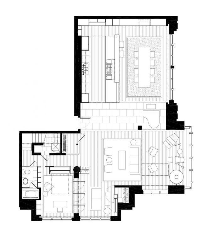 Penthouse With Large Double Height Space Anchored At The Corner With Expansive Two Story Walls Of Glass Caandesign Colorful Apartment Design House Design