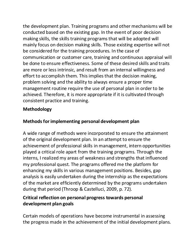 Personal development plan essay Looking to start a new business in - example of a personal development plan sample