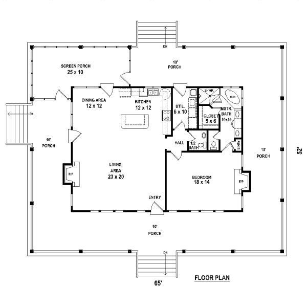 one bedroom 15 bath cabin with wrap around porch and screened porch plan 1 - 2 Bedroom House Plans