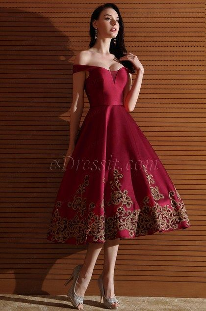 Designer Burgundy Off Shoulder Short Prom Dress Tea Length